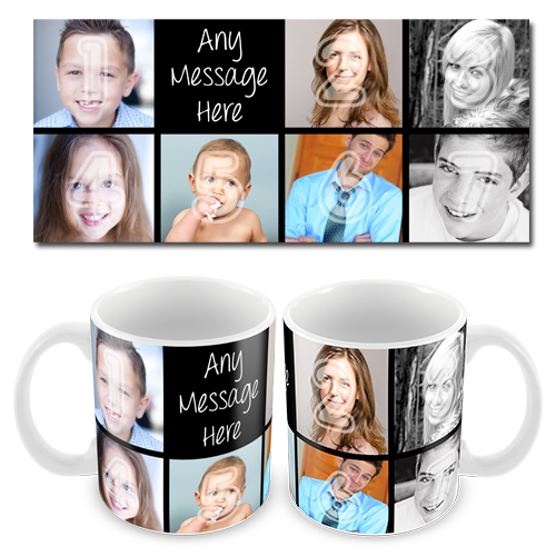 Black 7x Collage Photo Mug with Text