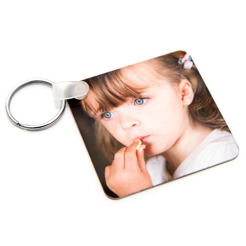 double sided square metal photo keyring